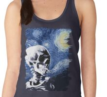 Skull with burning cigarette on a Starry Night Women's Tank Top