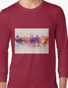 Belfast skyline in watercolor background Long Sleeve T-Shirt