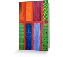 Large rectangle Fields between red Grid Greeting Card