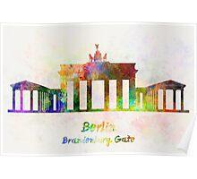 Berlin Landmark Brandenburg Gate in watercolor Poster