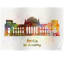 Berlin Landmark The Reichstag in watercolor Poster