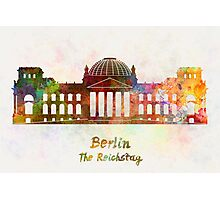 Berlin Landmark The Reichstag in watercolor Photographic Print