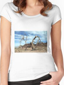 Dead and dry solitary tree in the desert Women's Fitted Scoop T-Shirt