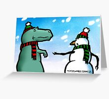 T-Rex and the Snowman Greeting Card