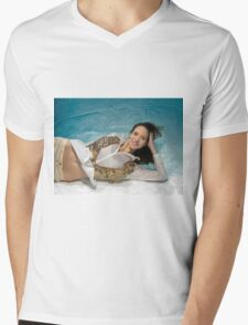 A young trendy dressed woman floats underwater Mens V-Neck T-Shirt