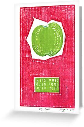 big apple retro fruit fine art binary code litho print by Veera Pfaffli