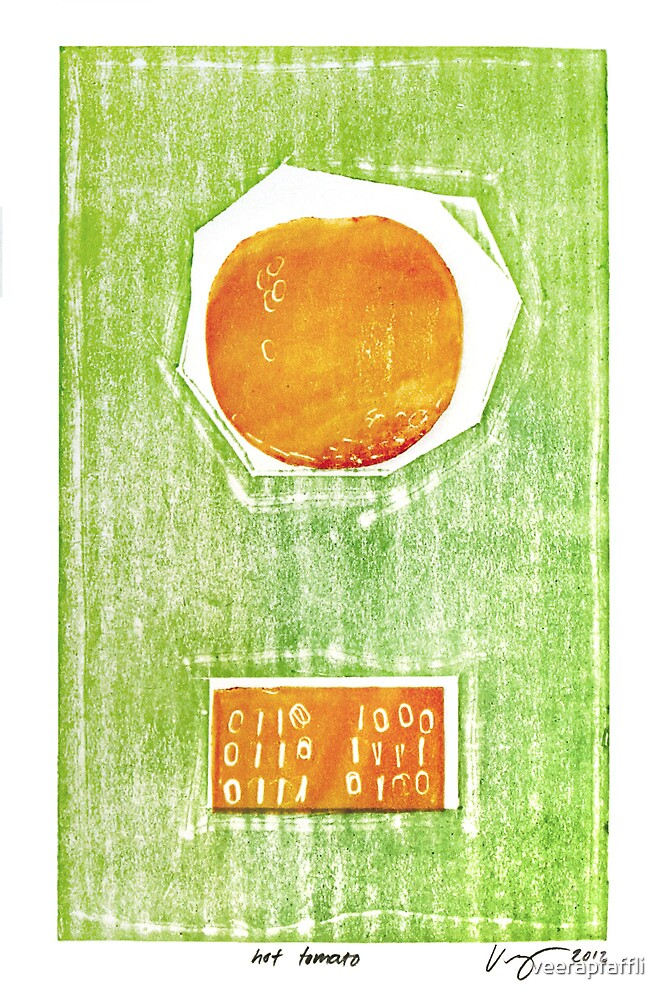 hot tomato retro fruit fine art binary code litho print by Veera Pfaffli
