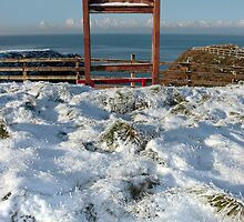 seasonal snowy frost covered framed red bench sea view by morrbyte