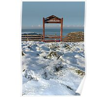 seasonal snowy frost covered framed red bench sea view Poster