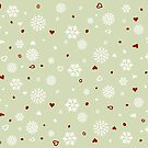 Holiday Snowflakes Hearts on Green by ruxique