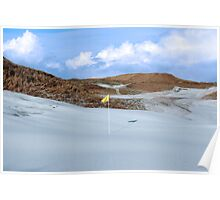 snowfall covered links golf course with yellow flag Poster