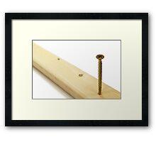 Phillips screw in wood. Framed Print