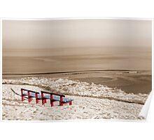 winter beach view and red benches Poster