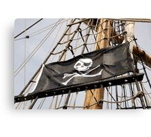 Skull and crossbones pirate flag on tall ship, Plymouth, Devon, UK Canvas Print