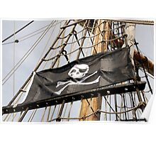 Skull and crossbones pirate flag on tall ship, Plymouth, Devon, UK Poster