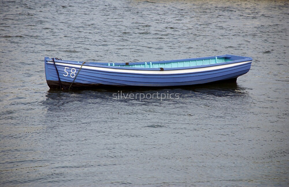 Number 58 pastel blue rowing boat, Saltash, Cornwall, UK by silverportpics