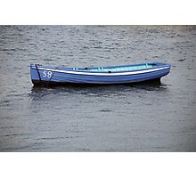 Number 58 pastel blue rowing boat, Saltash, Cornwall, UK Photographic Print