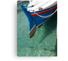 Rudder section of the vintage Looe Lifeboat in azure blue sea, Cornwall, UK Canvas Print