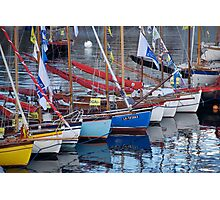 Bows of colourful boats and reflections in harbour, Brest 2008 Maritime Festival, France Photographic Print