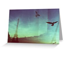 Birds and Eiffel Towers Greeting Card