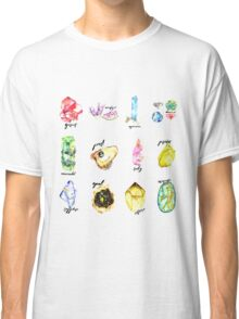 Watercolor Birthstones With Calligraphy Classic T-Shirt