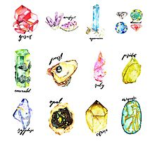 Watercolor Birthstones With Calligraphy Photographic Print