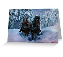 Winter Sled Horses Stomping through Snow Greeting Card