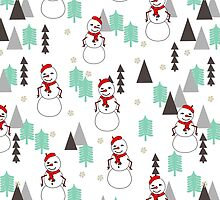 Snowman - Mint and White by Andrea Lauren  by Andrea Lauren