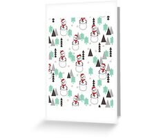 Snowman - Mint and White by Andrea Lauren  Greeting Card