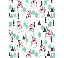 Snowman - Mint and White by Andrea Lauren  Photographic Print