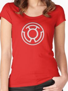 Yellow Lantern Insignia (White) Women's Fitted Scoop T-Shirt