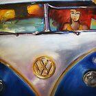 'Redhead Deadhead in 1960's VW Bus' Volkswagen by Kelly Telfer