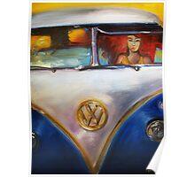 'Redhead Deadhead in 1960's VW Bus' Volkswagen Poster
