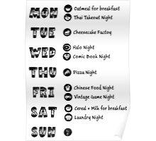 TBBT - Sheldon's weekly schedule Poster
