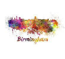 Birmingham skyline in watercolor Photographic Print