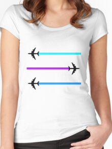 planes pattern Women's Fitted Scoop T-Shirt