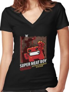 Super Meat Boy for NES Women's Fitted V-Neck T-Shirt