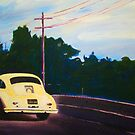 'California Dream on Hwy 1' Vintage Porsche 356 by Kelly Telfer