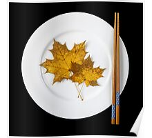 Plate with chopsticks and maple leaves Poster