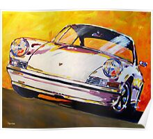 'White Early 911' Vintage Porsche Poster