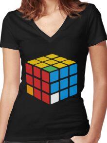 rubiks cube Women's Fitted V-Neck T-Shirt