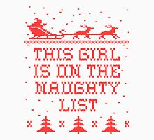 This girl is on the naughty list Womens Fitted T-Shirt