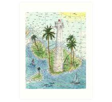 Lahaina Lighthouse HI Nautical Chart Cathy Peek Art Print