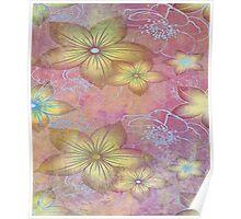 Soft textured florals Poster