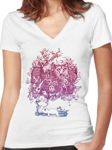 Dreaming Bear  Women's Fitted V-Neck T-Shirt