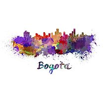 Bogota skyline in watercolor Photographic Print