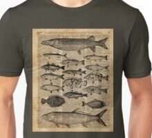Vintage Illustration of Fishes Over Old Book Page Dictionary Art Collage Unisex T-Shirt