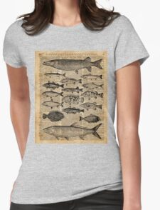 Vintage Illustration of Fishes Over Old Book Page Dictionary Art Collage T-Shirt
