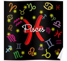 Pisces Floating Zodiac Name Poster