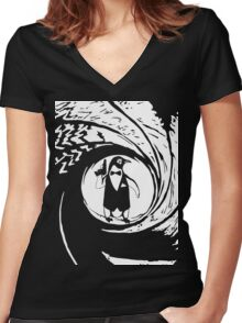 Double Oh Penguin Women's Fitted V-Neck T-Shirt